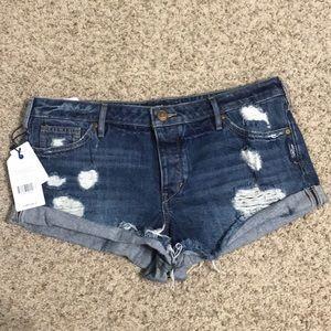 Silver Breccan Distressed Denim Shorts
